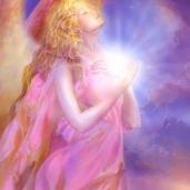 angel holding light center
